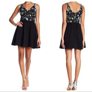 BCBGeneration Floral Embroidered Empire Dress